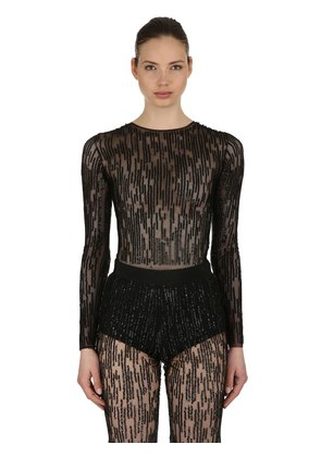 SEQUINED STRETCH TULLE BODYSUIT