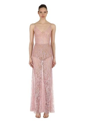 SEQUINED STRETCH TULLE GOWN