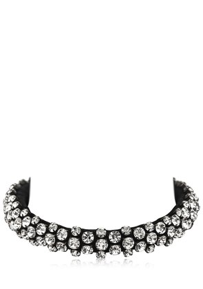 CRYSTAL & LEATHER NECKLACE