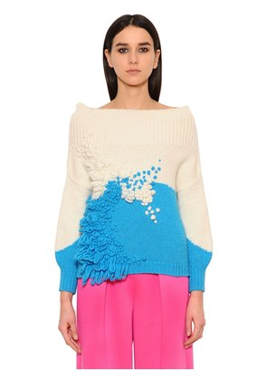 FLOWERS EMBROIDERED WOOL BLEND SWEATER