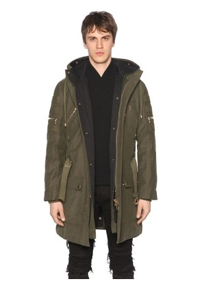 HOODED ZIP CANVAS PARKA COAT W/ LINING