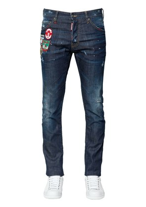 16.5CM COOL GUY DENIM JEANS W/ PATCHES
