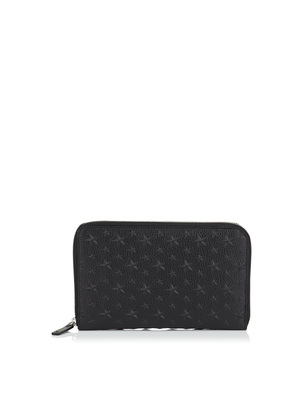 TRAVIS Black Grainy Leather Travel Wallet with Embossed Stars