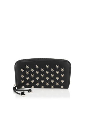 FILIPA Black Satin Leather Wallet with Silver and Gold Bicolour Star Studs