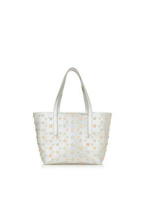 SOFIA/S Champagne Glitter Leather Tote Bag with Rose Gold Metallic Mix Multimetal Stars