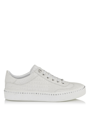 ACE White Croc Printed Nubuck with Steel Stars Low Top Trainers