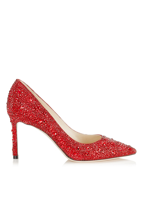 ROMY 85 Red Crystal Covered Pointy Toe Pumps