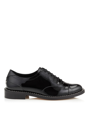 REEVE FLAT Black Patent Leather Brogues with Crystal Welt