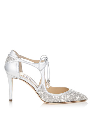VANESSA 85 Silver Metallic Nappa Leather and Crystal Pointy Toe Pumps