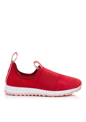 OAKLAND/F Red Mesh and Suede Trainers