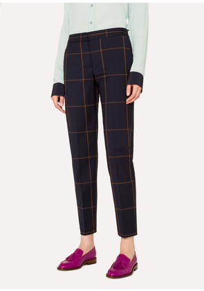 Women's Classic-Fit Navy Windowpane-Check Wool Trousers