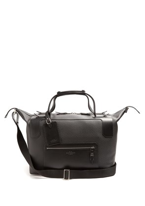 Greenwich lacquered-canvas weekend bag