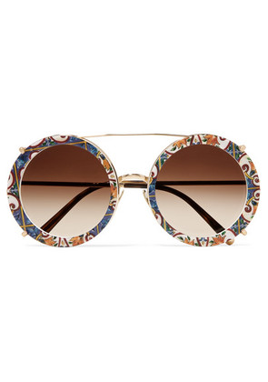 Dolce & Gabbana - Round-frame Printed Acetate And Gold-tone Convertible Sunglasses - one size