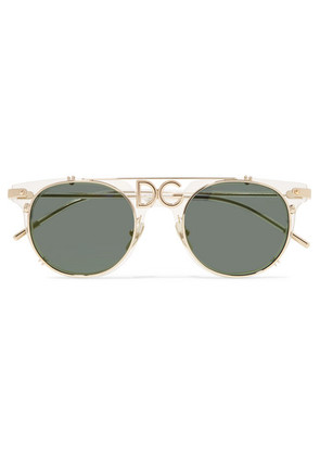 Dolce & Gabbana - D-frame Acetate And Gold-tone Sunglasses - one size