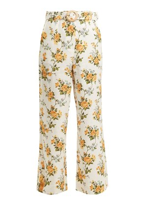 Golden Crop kick-flare linen trousers