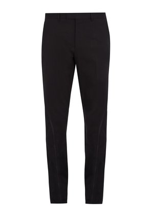 Bee-embroidery slim-leg stretch-cotton trousers