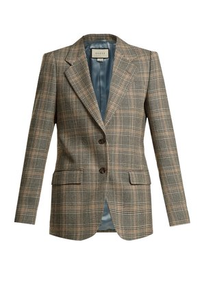 Prince of Wales-check wool oversized blazer