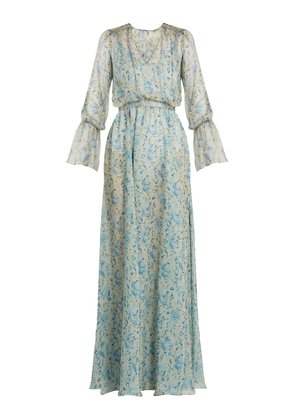 Floral-print V-neck silk-chiffon gown