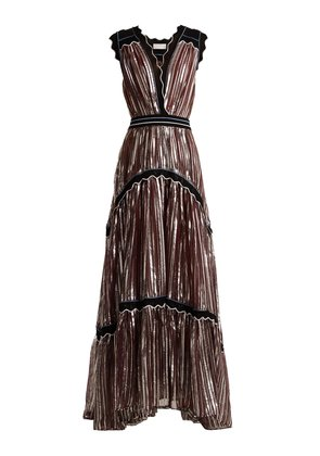 Striped-jacquard crepe gown