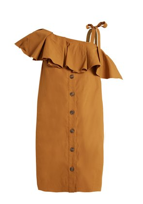 Ruffle-trimmed one-shoulder gabardine dress