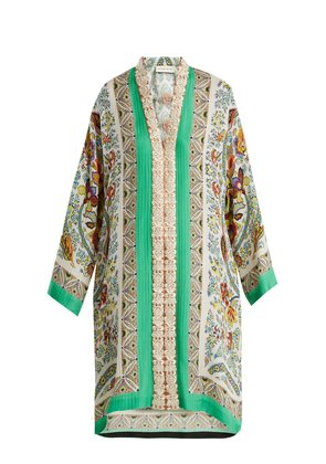 Floral-embroidered jacquard silk-blend dress