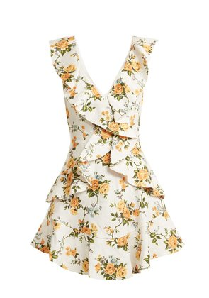 Golden Flutter floral-print linen dress
