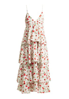 Gian tiered floral-print stretch-crepe dress