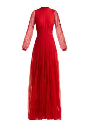 High-neck pleated-skirt silk gown