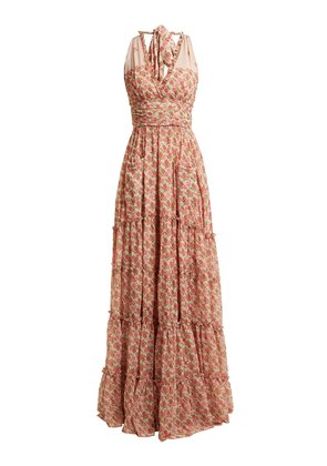 Rose-print ruffle-trimmed halterneck gown