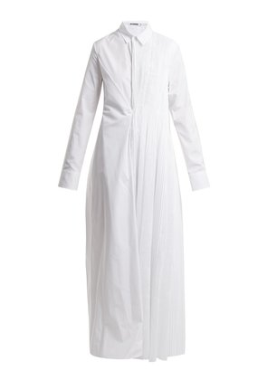 Entertainment pleated cotton shirtdress