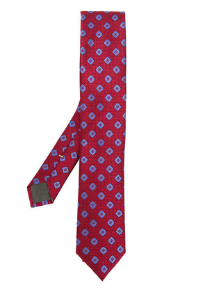 Canali classic print tie - Red