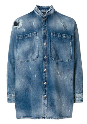 Overcome stonewashed distressed denim shirt - Blue