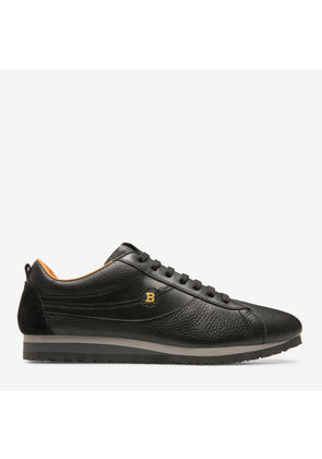 Colones Black, Mens grained deer leather sneaker in black Bally