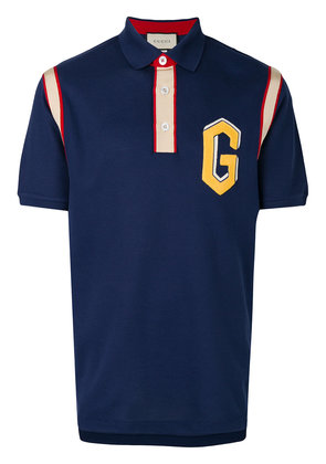 Gucci embroidered logo polo shirt - Blue