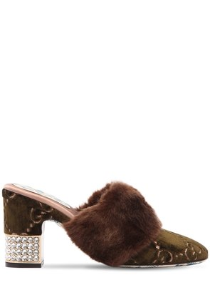 75MM CANDY GG VELVET & FAUX FUR MULES