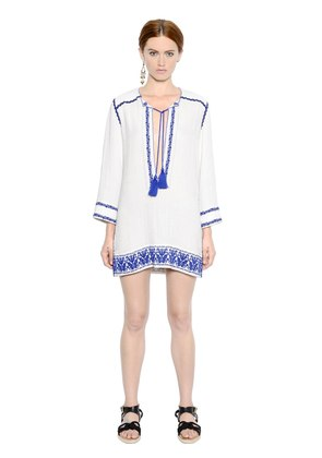 EMBROIDERED COTTON GAUZE DRESS