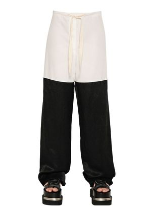 COTTON POPLIN & DRAPED VISCOSE PANTS