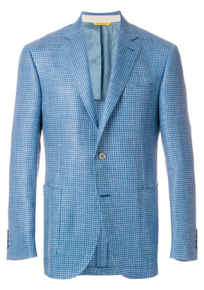 Canali gingham fitted blazer - Blue