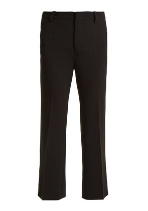 High-rise cropped flared-leg cady trousers