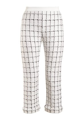 Mid-rise checked trousers