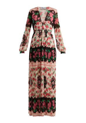 Valentina floral-print pleated gown