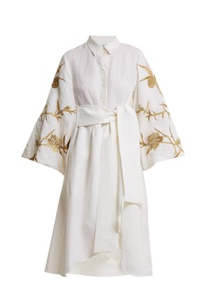 Ariana embroidered-linen dress