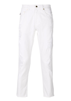 Love Moschino distressed cropped jeans - White