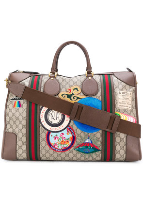 Gucci GG Supreme patched tote bag - Brown