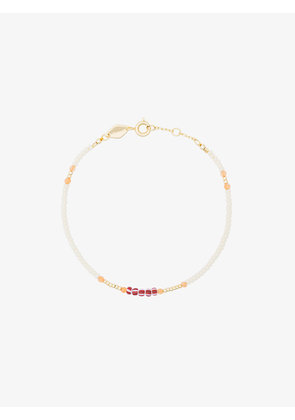 Anni Lu White And Orange Peppy Gold Plated Bracelet