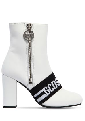 100MM LOGO LEATHER ANKLE BOOTS