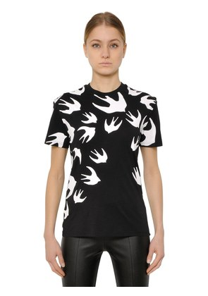 SWALLOW PRINTED COTTON JERSEY T-SHIRT