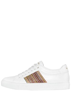 LEATHER SNEAKERS W/ STRIPED SIDES