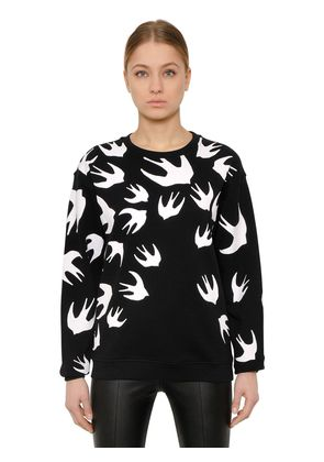 SWALLOW PRINTED COTTON SWEATSHIRT