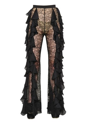 RUFFLED GEORGETTE & LACE PANTS